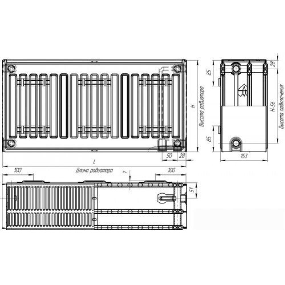 Стальной панельный радиатор Лидея ЛК 30-310 300x1000
