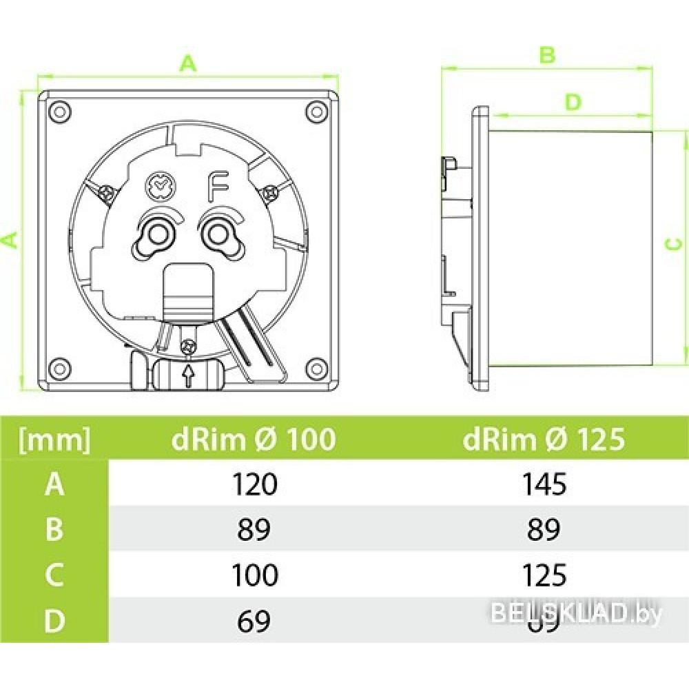 Вытяжной вентилятор airRoxy dRim 125MS-C167
